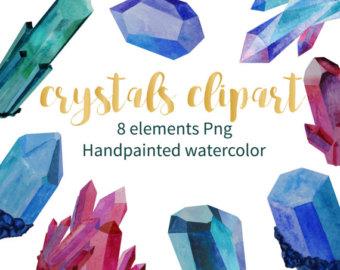 Crystal clipart gemstone Watercolor Etsy clipart Quartz Clipart