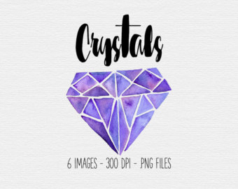 Crystal clipart gemstone Pink Crystals Crystal Clipart Watercolor