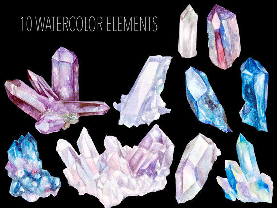 Crystal clipart mineral Art Watercolor Hand by Gemstones