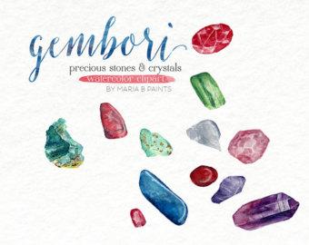 Crystal clipart precious Clipart Stones Clip Watercolor Crystal