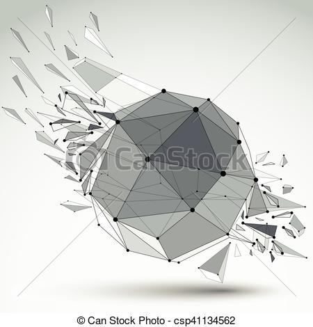 Crystal clipart shaped object Wireframe black 3d Clip with