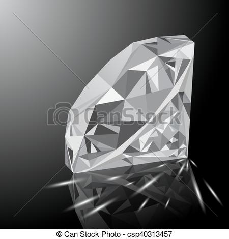 Crystal clipart white diamond Vector  Clipart shining diamond