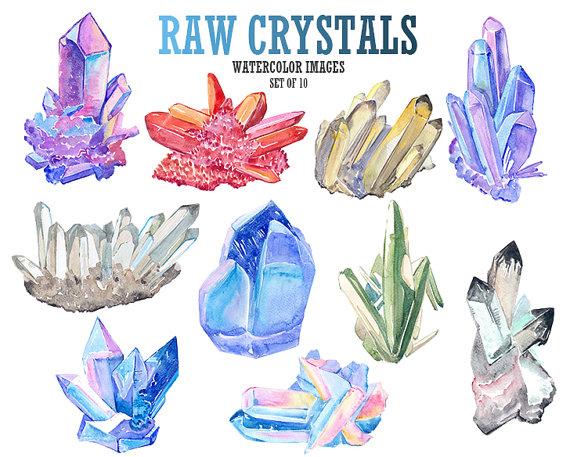 Crystal clipart gemstone Art  Watercolor art crystal