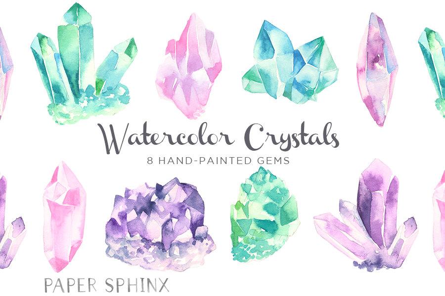 Crystals clipart Watercolor Boho Gemstones Gems Clip