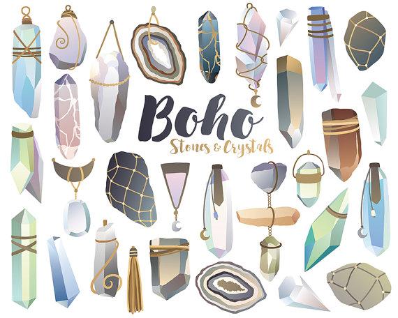 Crystals clipart Art Boho Crystals Digital Stones