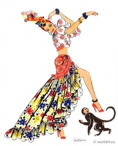 Cuba clipart performing art Characters from costume folk dress