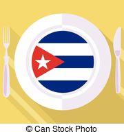 Cuba clipart plate  Stock Illustrations vector flat