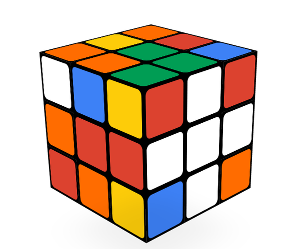 Cube clipart rubicks A with edges centers respective