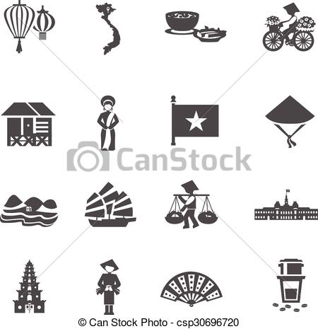 Vietnam clipart hat Set Icons Vector Vietnamese Set