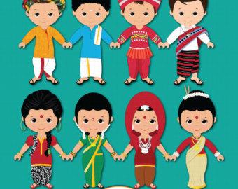 Culture clipart child Unity Children Etsy Ethnic Indian