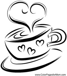 Coffee clipart black and white 26 page Coffee Google coloring