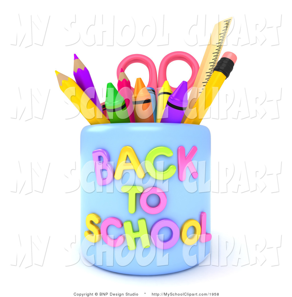 Crayon clipart scissors 3d with Art School with