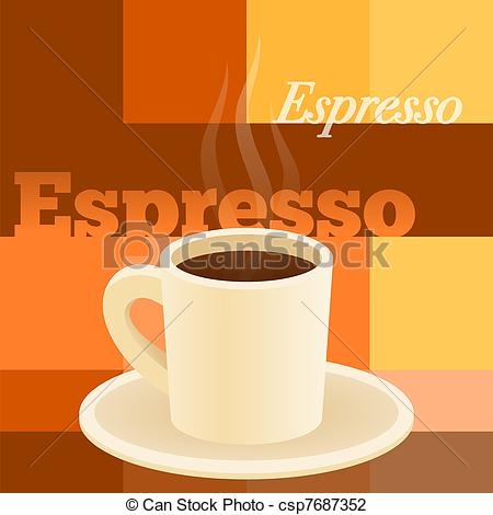 Cup clipart espresso Breakfast roasted Illustration of Cup