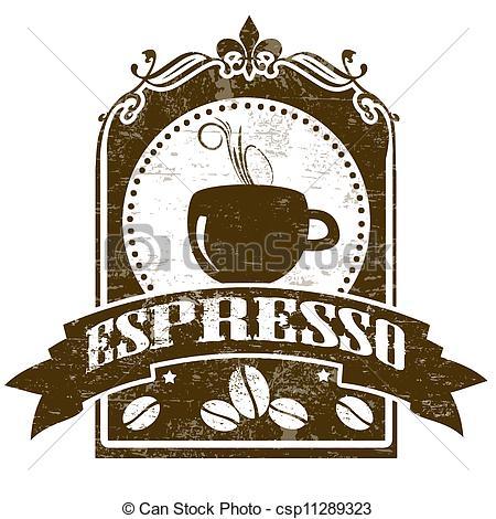 Cup clipart espresso Grunge stamp Illustration of Espresso