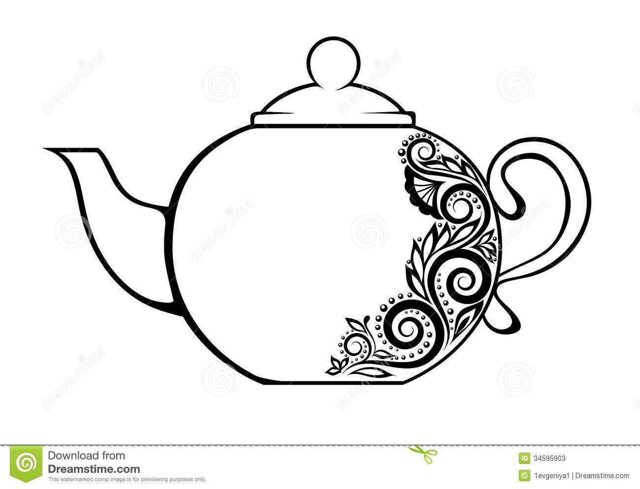 Teacup clipart outline Art Free  art pot