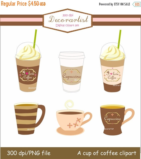 Coffee clipart digital Download A clipart clipart