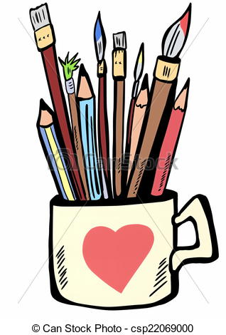 Pencil clipart paintbrush 318x470 Resolution Brushes  Cup