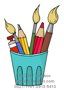 Pencil clipart paintbrush In of Illustration Three Cup
