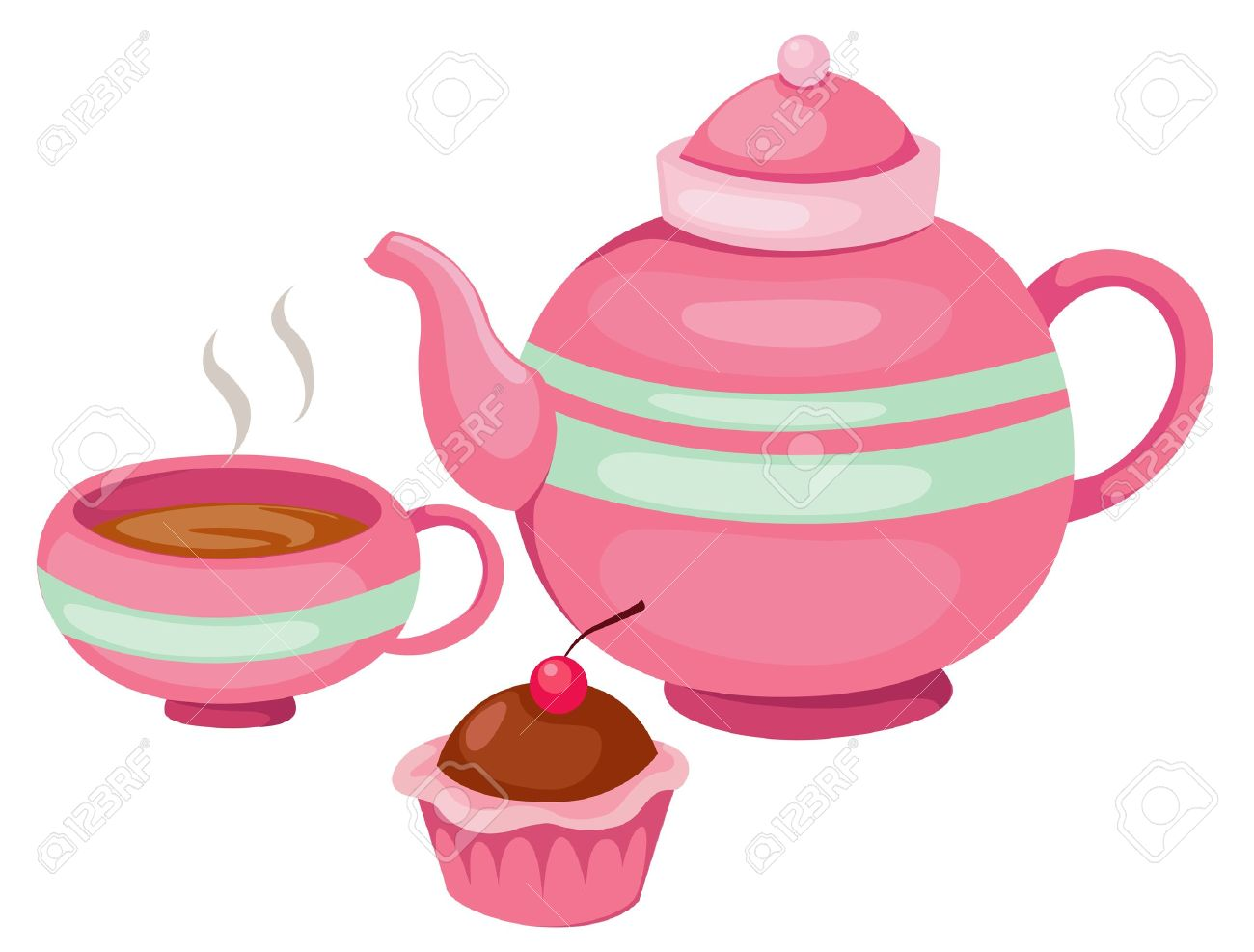 Teacup clipart tea set Cream tea cup collection set