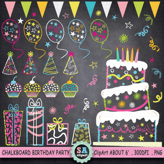 Balloon clipart chalkboard Party pack from Present Balloon