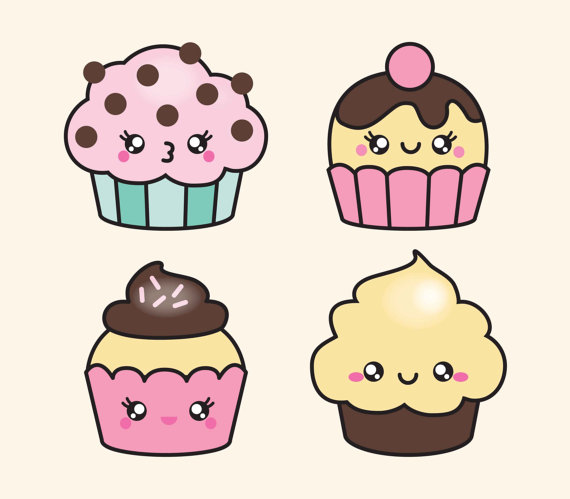 Neon clipart cupcake Set Vector Kawaii Cakes Clipart