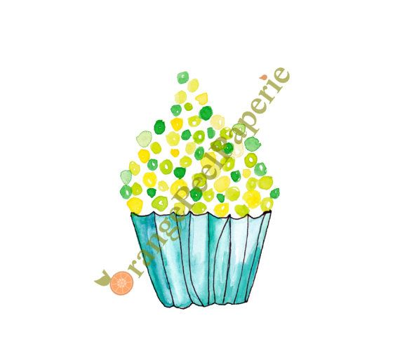 Vanilla Cupcake clipart one cupcake Cupcake and Green Cupcake Yellow