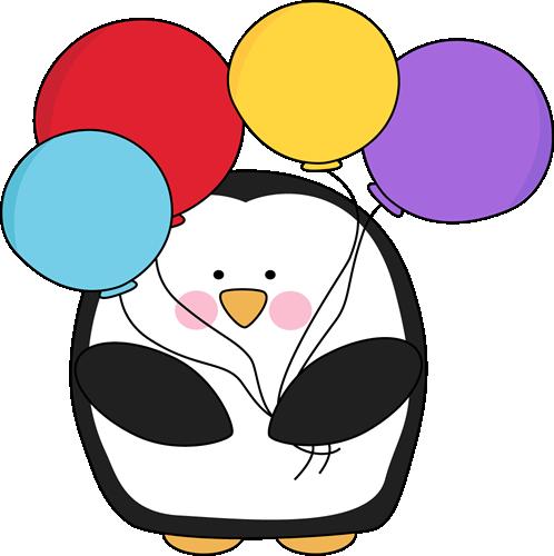 Penguin clipart spring Penguin Balloons  Clip Colorful