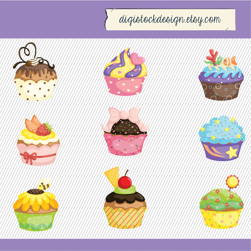 Vanilla Cupcake clipart cute food Cupcake Colorful Clipart Food Stylish