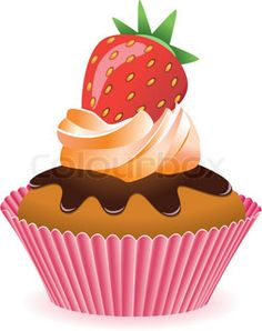Chocolate clipart strawberry cupcake Stock cupcake  Illustrations Cupcake