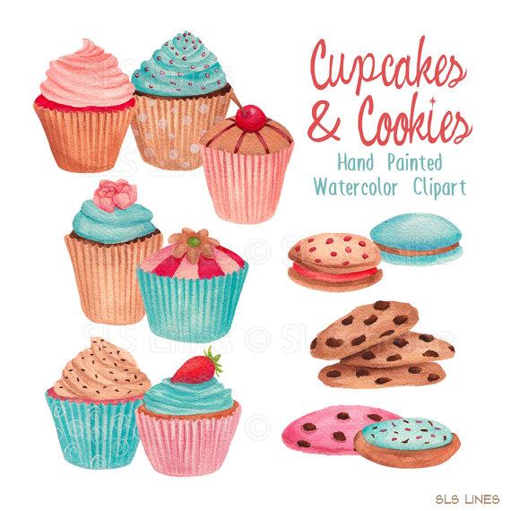 Vanilla Cupcake clipart cookie cupcake Blue cupcake watercolor clipart cupcakes