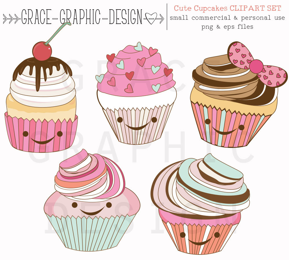 Vanilla Cupcake clipart cute food Cute Graphics Clipart Commercial Clipart