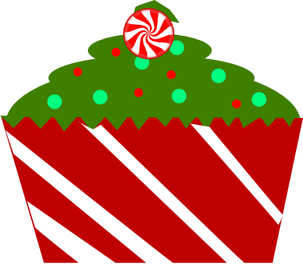 Muffin clipart christmas Image Cupcake With Striped Christmas