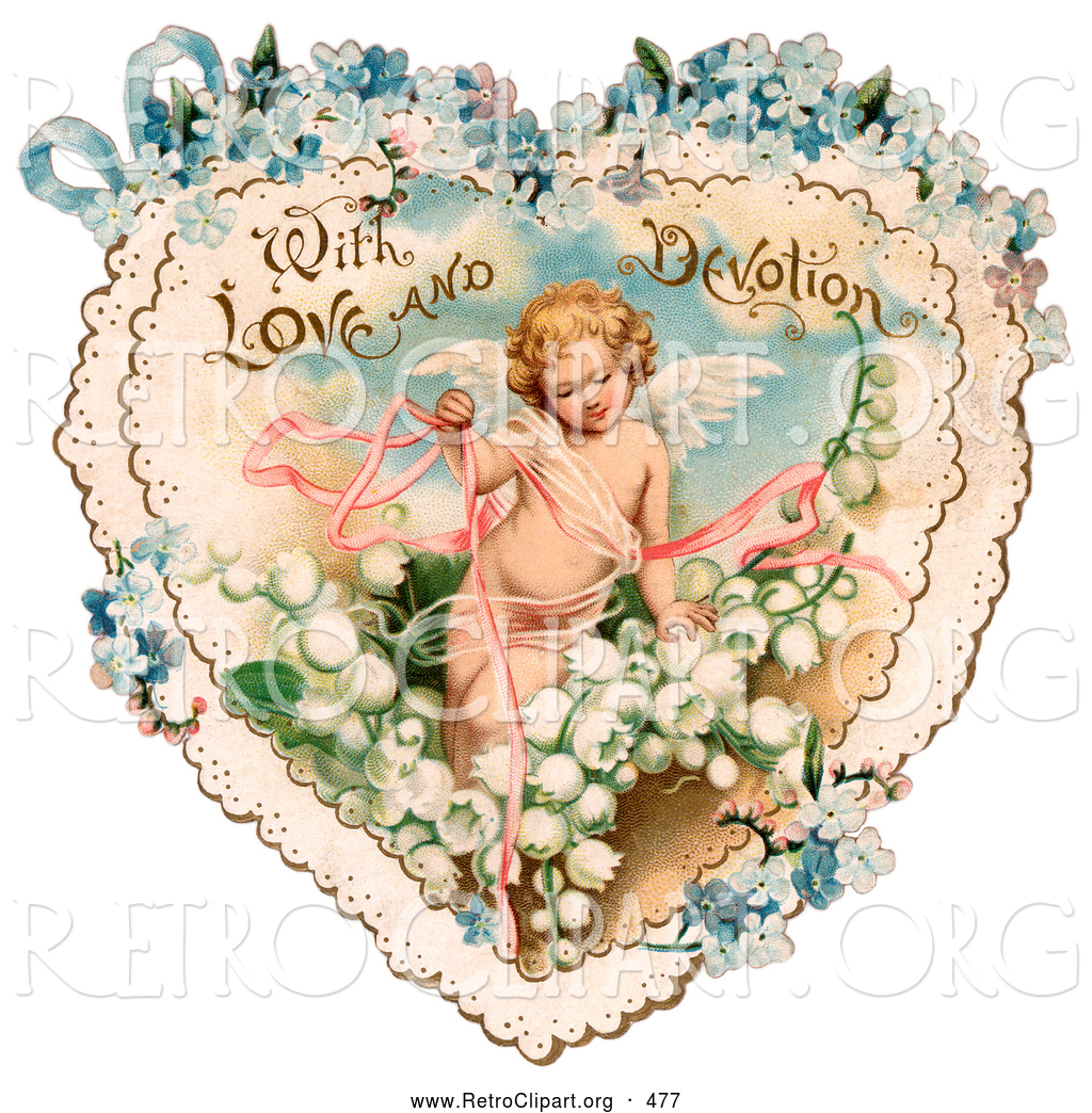 Cupid clipart antique Vintage Retro Prancing with Valentine