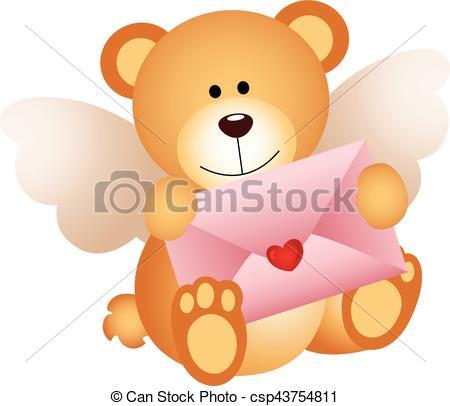 Cupid clipart bear Vector with love teddy love
