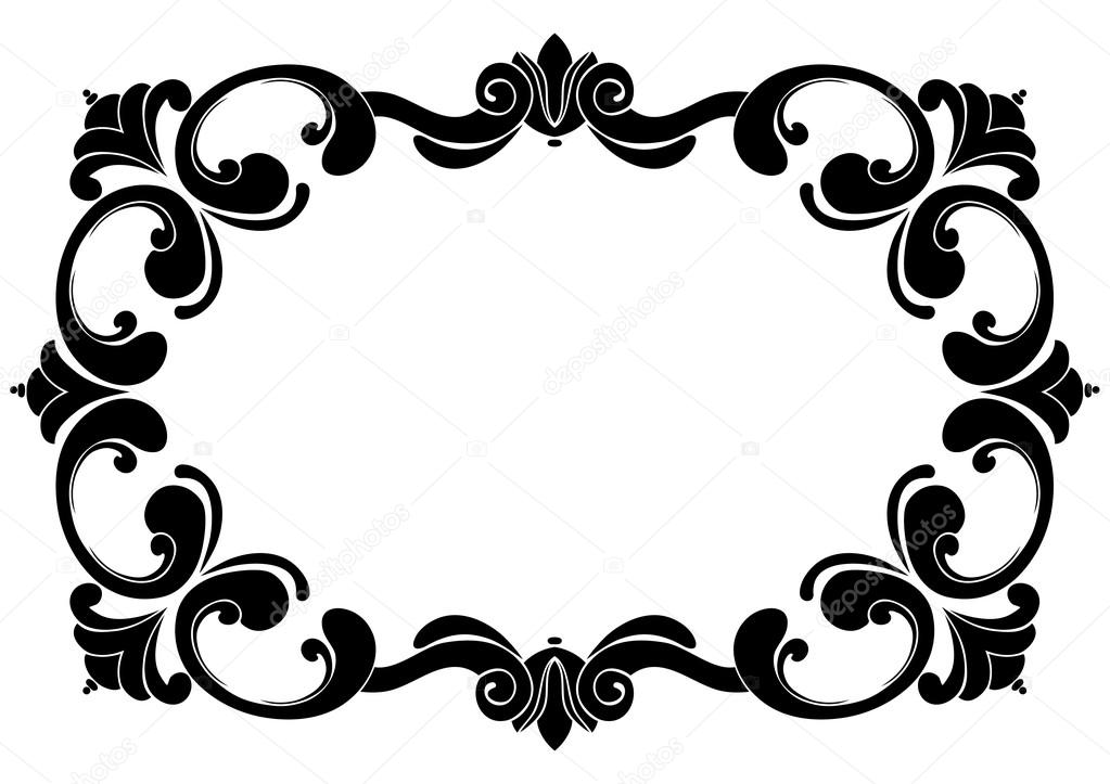 Curl clipart flower scroll Design Baroque black and curls
