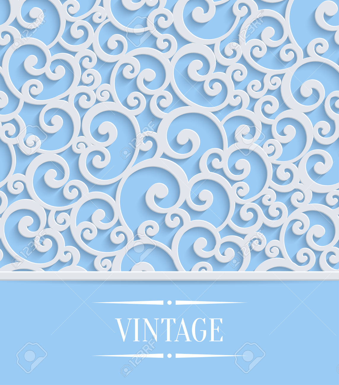 Curl clipart design pattern Floral  Card Or Invitation