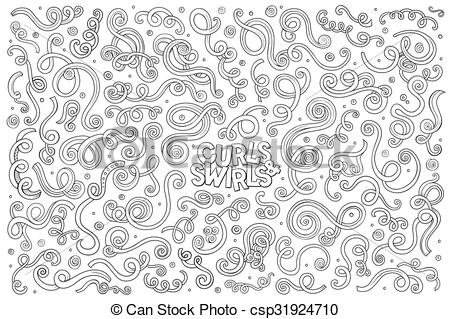Curl clipart doodle Decorative cartoon Doodle swirls Art