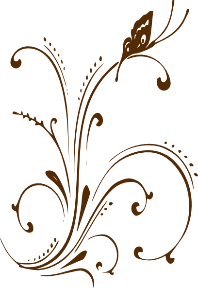 Curl clipart floral scroll Brown brown border art scroll