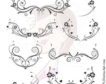 Curl clipart flower scroll Swirls Floral Invitation Floral Digital