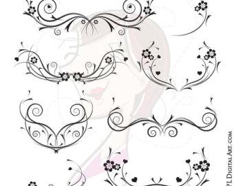 Curl clipart flower scroll VECTOR Floral Curls swirls Digital