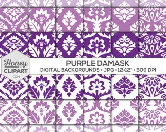 Curl clipart purple damask Etsy clipart graphics patterns: purple
