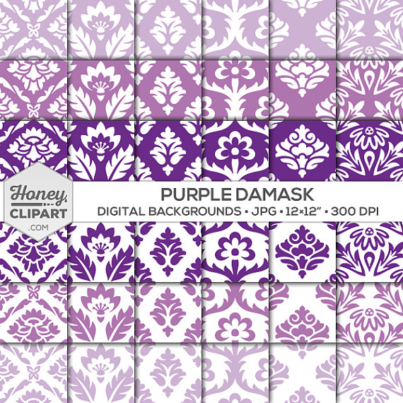 Curl clipart purple damask HoneyClipArt Digital graphics patterns: purple