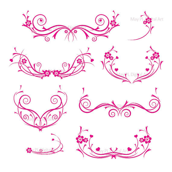 Curl clipart purple damask Clipart Curly Damask Flourishes Decorative