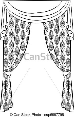 Curtain clipart black and white White White Curtain Clip Clip