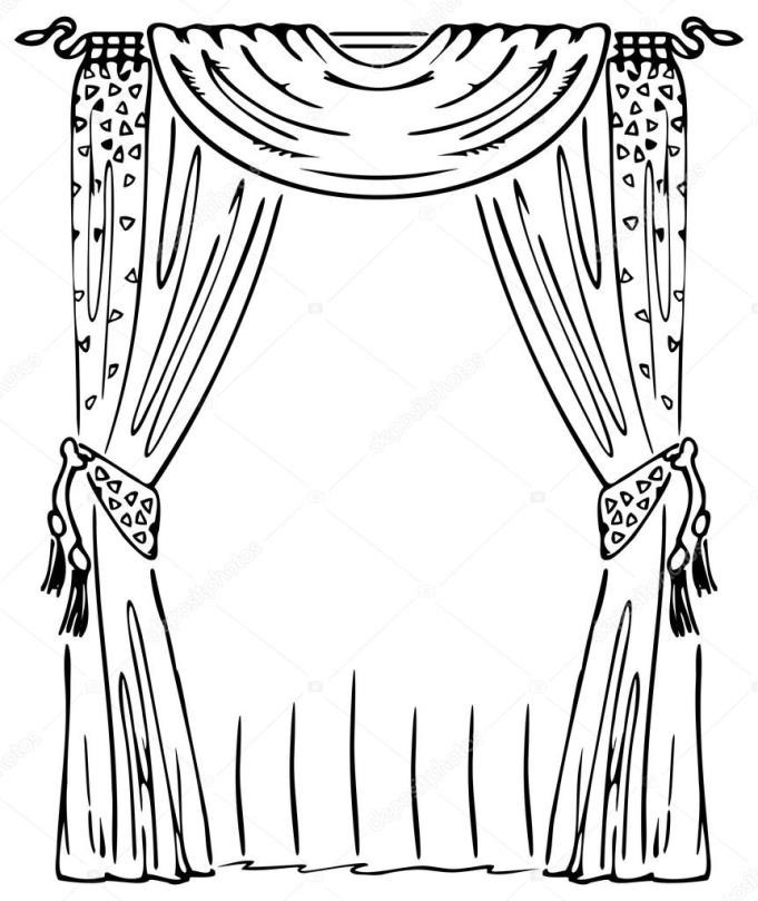 Curtain clipart black and white White Curtain clipart Curtains clip