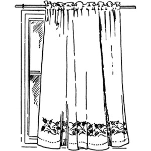 Curtain clipart black and white Art Free on Curtain Clip