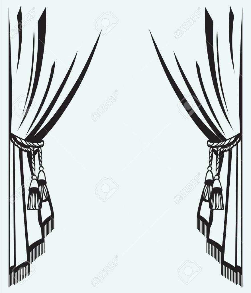 Curtain clipart black and white Black S Stage Theater Cheap