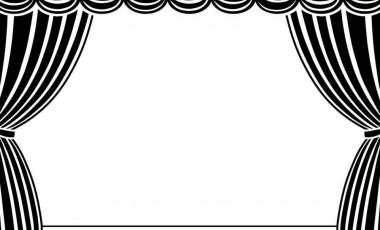 Curtain clipart black and white White and clipart Stage clip