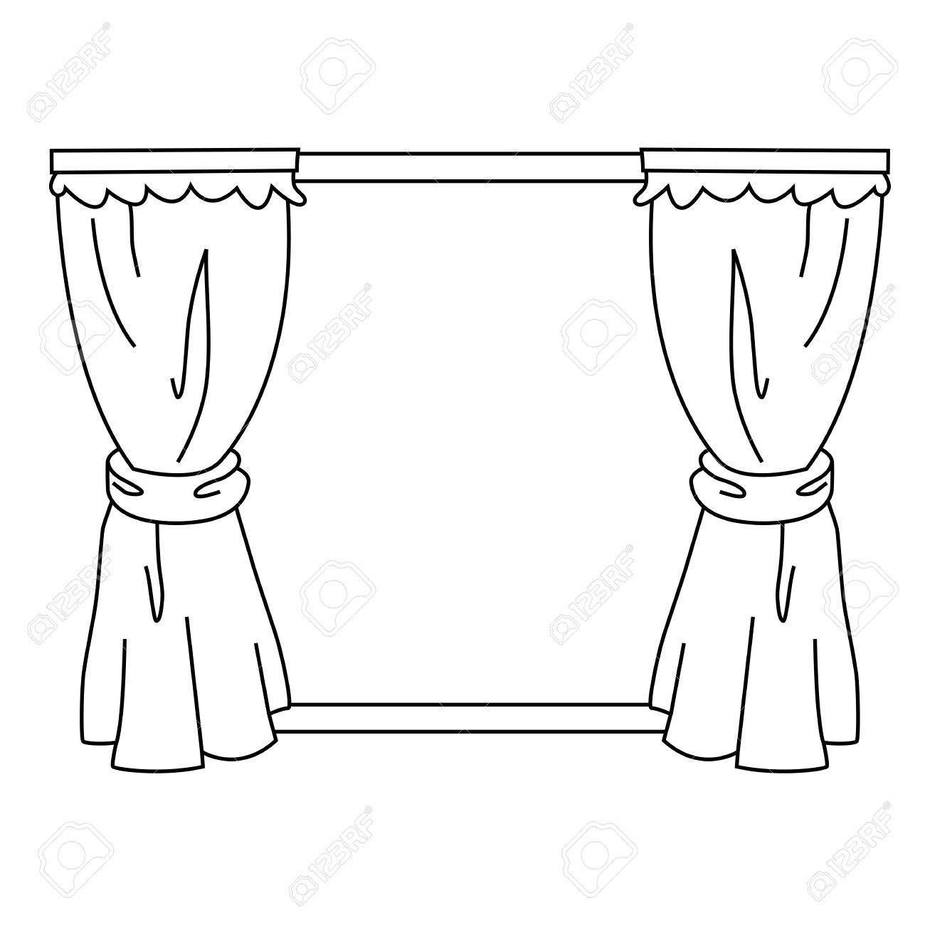 Curtain clipart black and white And White White Clip Curtains