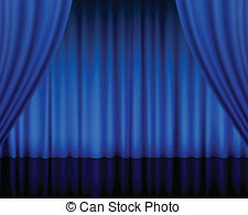 Curtain clipart blue curtain Blue  theatre stage Vector